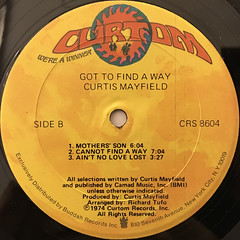 CURTIS MAYFIELD:GOT TO FIND A WAY(LABEL SIDE-B)