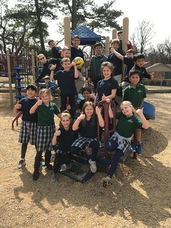 Mrs. Christian's class hanging around outside | by CTK Parish Fort Smith