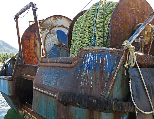 Rusty boat at the wharf in Ucluelet on Vancouver Island, Canada
