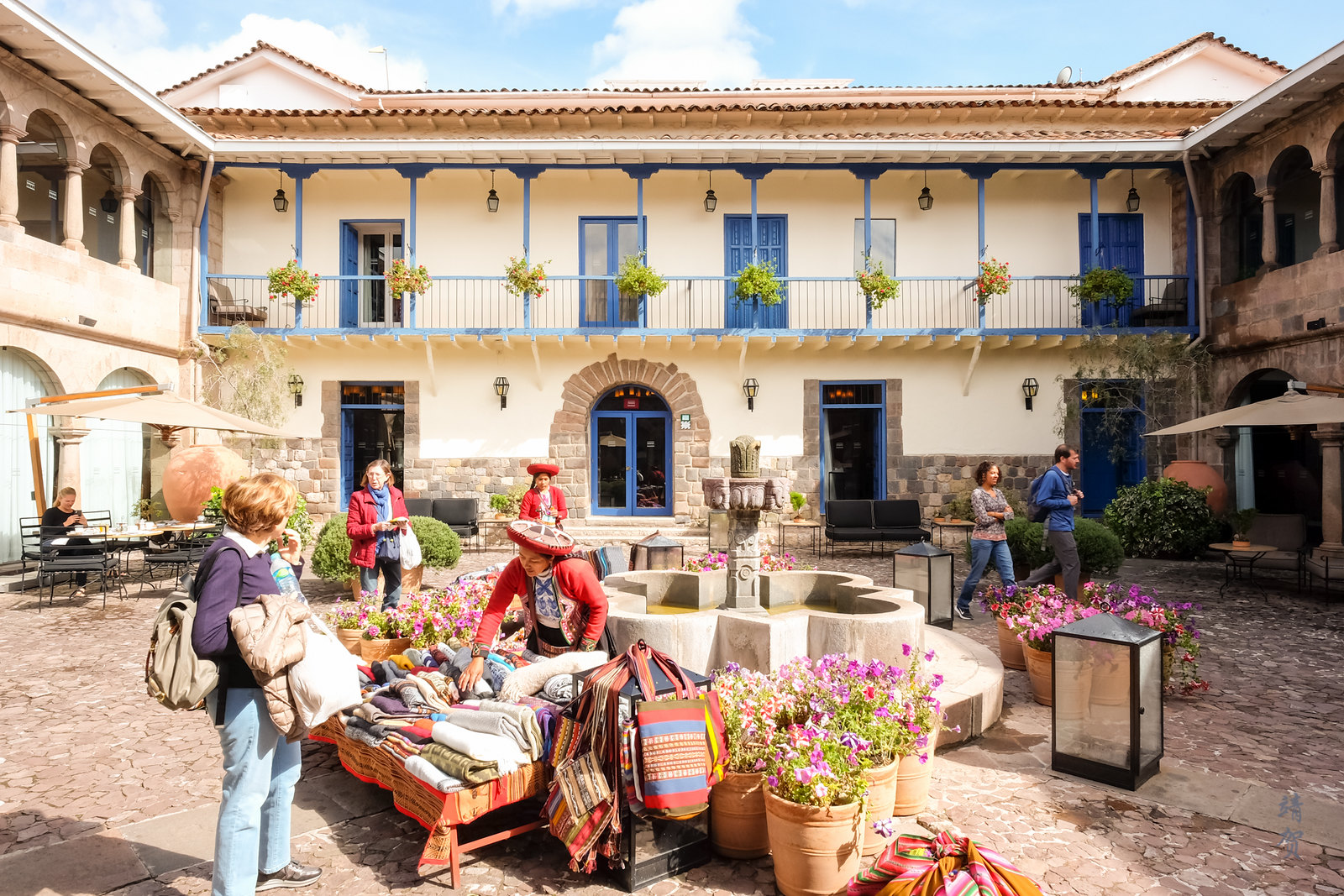 Local market at the Cuatro Bustos courtyard