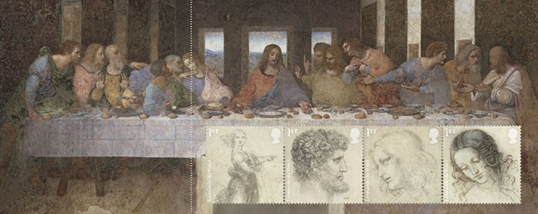Pane of four stamps from the Great Britain Leonardo da Vinci prestige stamp book, released February 13, 2019