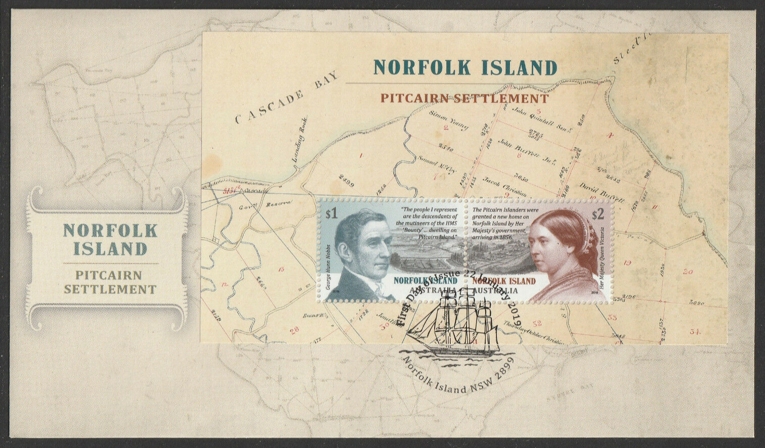 Norfolk Island - Pitcairn Settlement (January 22, 2019) souvenir sheet first day cover