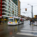 A Colorful Seattle Streetcar in the Rain
