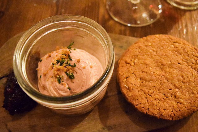 Chicken Liver Pate and Thyme Hobnobs at The Harwood Arms, Fulham