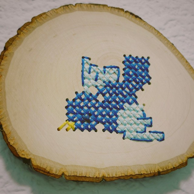 Bird Cross Stitch on Wood Slice