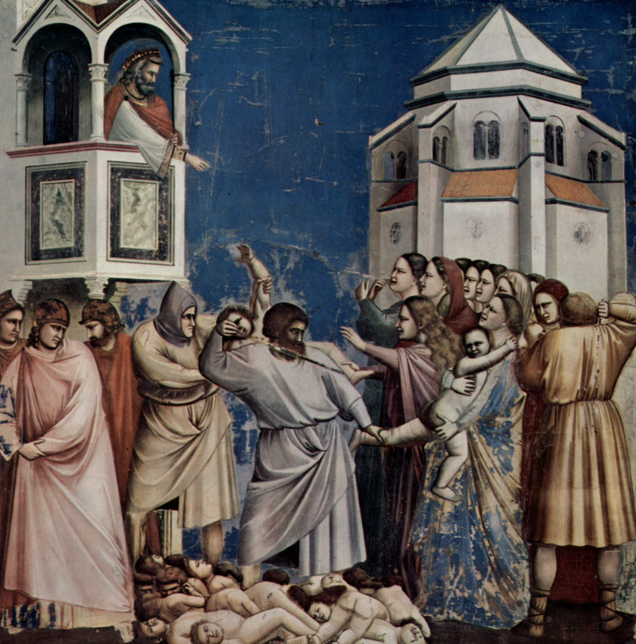 The Massacre of the Innocents, fresco by Giotto di Bondone between 1304 and 1306 No. 21 Scenes from the Life of Christ: 5. Massacre of the Innocents. At tThe Scrovegni Chapel (Cappella degli Scrovegni, also known as the Arena Chapel), a small church adjacent to the Augustinian monastery, the Monastero degli Eremitani in Padua, region of Veneto, Italy. The chapel and monastery are now part of the complex of the Museo Civico of Padua. The chapel contains a fresco cycle by Giotto, completed about 1305 and considered to be an important masterpiece of Western art.
