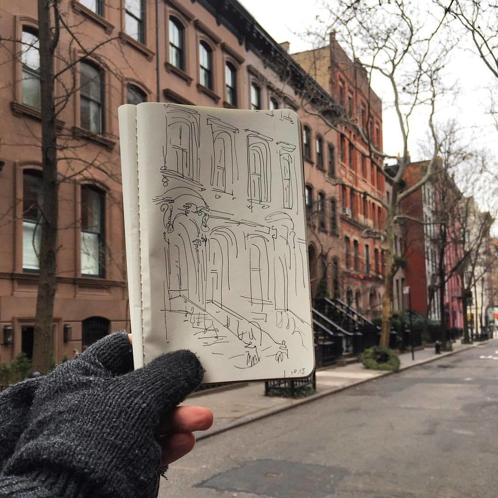 11019 Lunchtime Drawing Fancy Brownstones On Perry