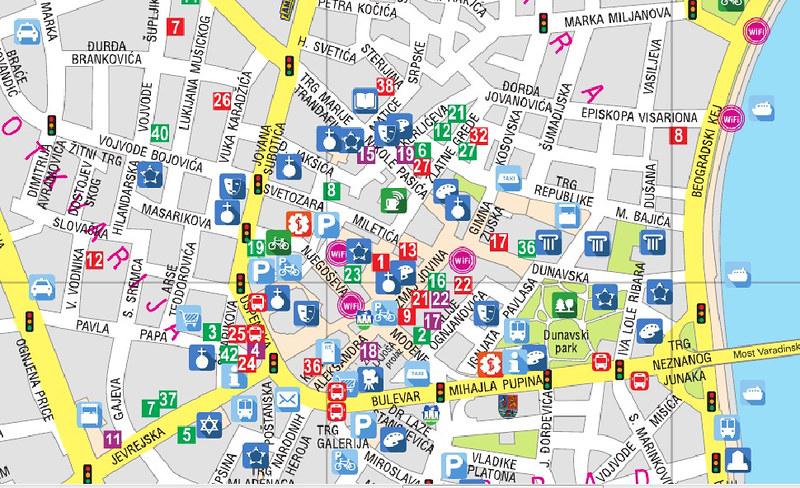 Центр Нового Сада на туристической карте