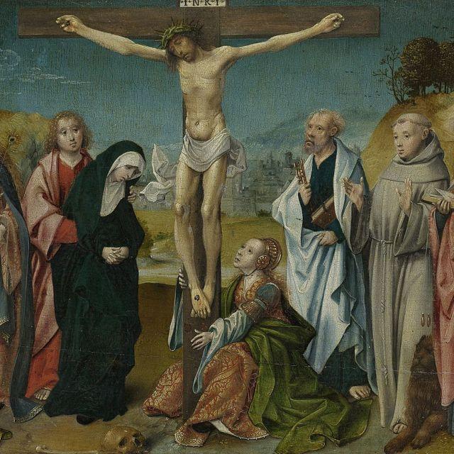 Christus aan het Kruis met Maria en Maria Magdalena_schilderij_olieverf op paneel