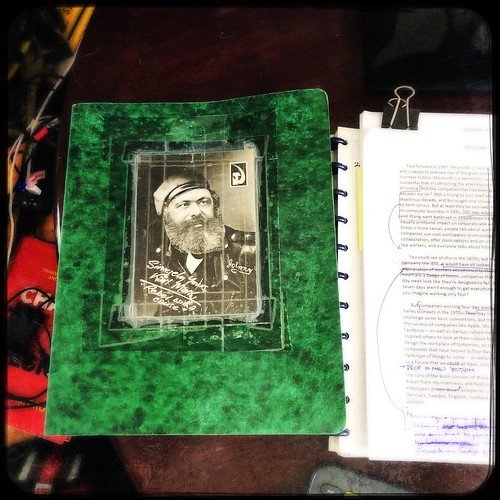 My ancient binder, with a postcard from one of my best friends and fellow historians, ca 1992.