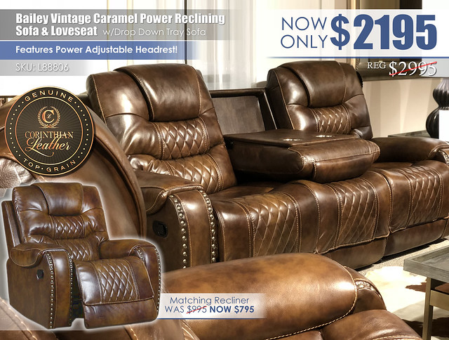 Bailey Vintage Caramel Leather Power Reclining Set_L88806_NEW