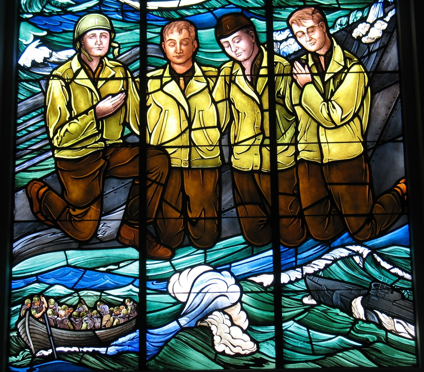 The Four Chaplains have been depicted on several stained-glass windows in churches throughout the United States.