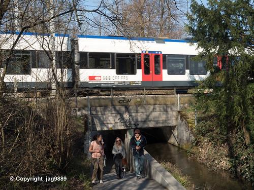 LOR591 SBB Railroad Bridge over the Old Lorze River, Zug, Canton of Zug, Switzerland