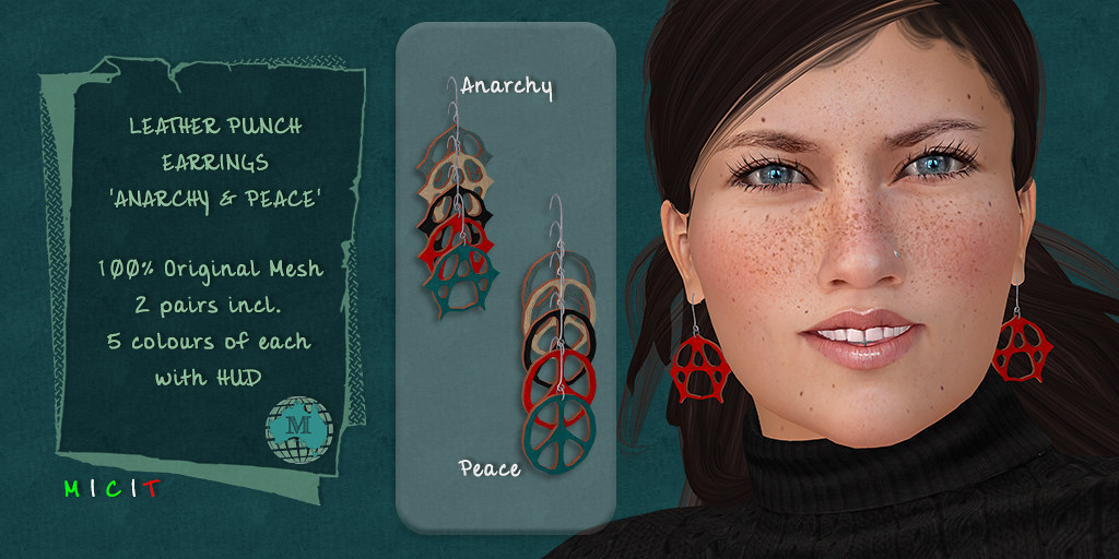 Macca - Leather Punch Earrings Anarchy and Peace - TeleportHub.com Live!