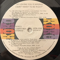 LUTHER INGRAM:(IF LOVING YOU IS WRONG)I DON'T WANT TO BE RIGHT(LABEL SIDE-B)