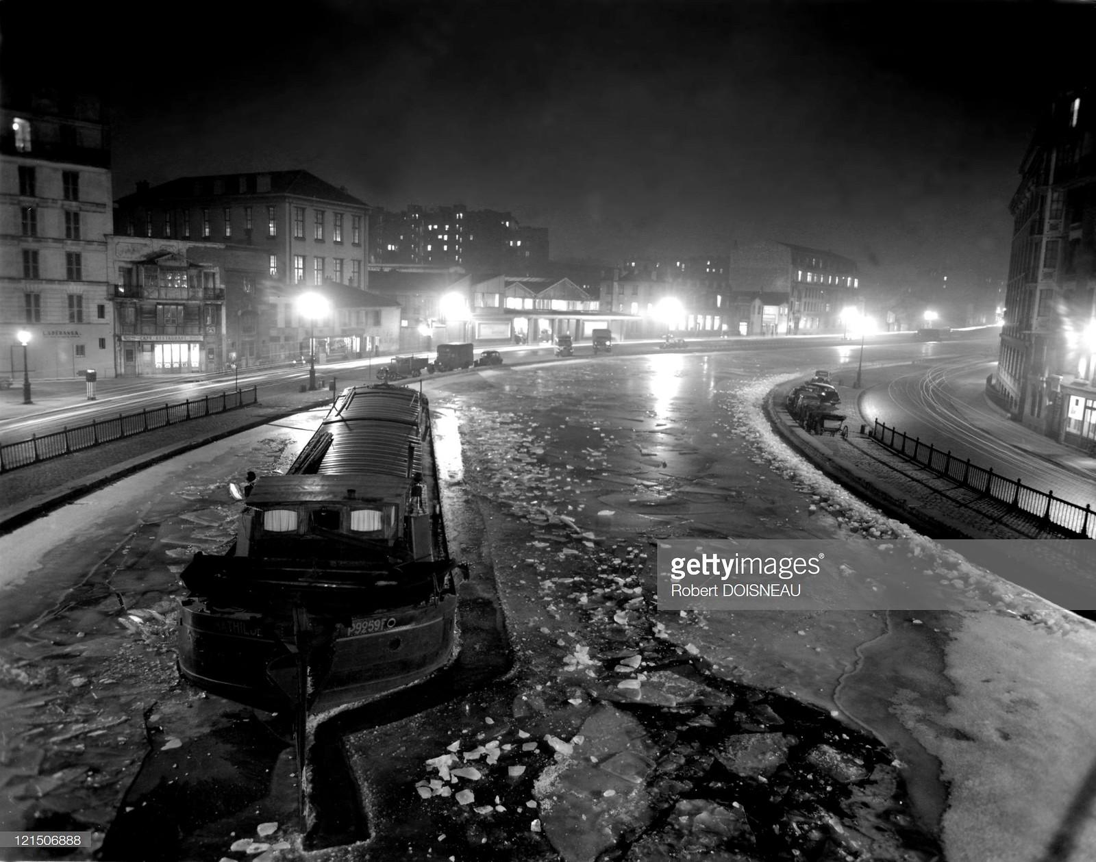 1954. Париж зимой, канал Сен-Мартен