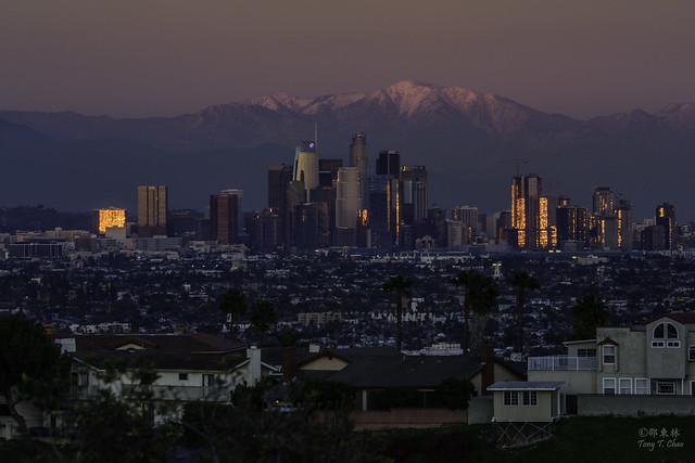 LA skyline in golden, Nikon D810, Tamron SP 70-300mm f/4-5.6 Di VC USD (A005)