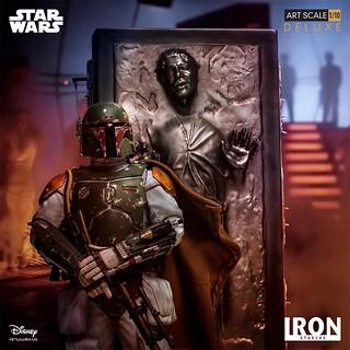 名場景精巧再現!! Iron Studios《星際大戰五部曲:帝國大反擊》波巴·費特&碳凍韓索羅 豪華版 Boba Fett & Han Solo in Carbonite 1/10 比例全身雕像作品