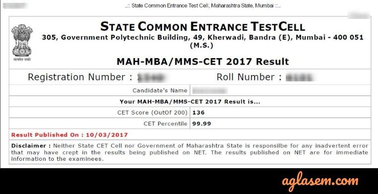 MBA CET 2019 Scorecard Sample