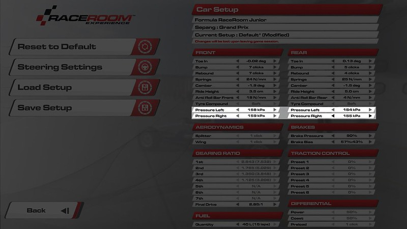 RaceRoom Adjustable tyre pressures