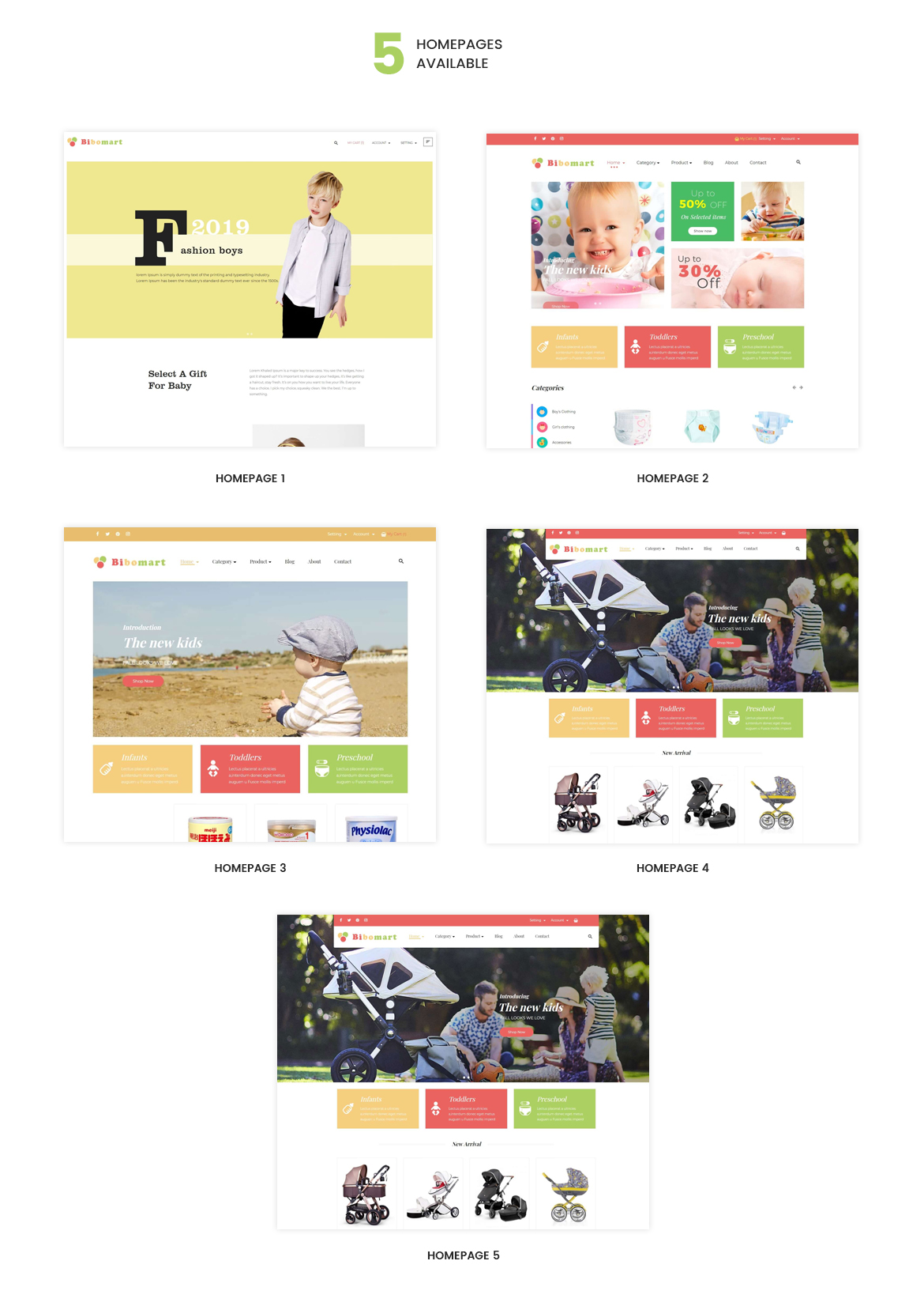 Multi homepages-Leo Bibomart Prestashop theme for Baby and Kid Store