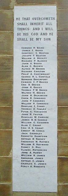 Oswestry War Memorial, World War 2 Names
