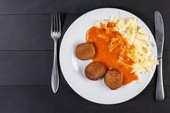 Flat Lay above Chicken Meat Meatballs with Tomato Sauce and Pasta