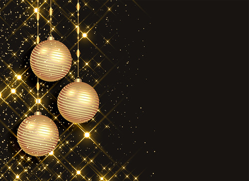 sparkling christmas balls on black background