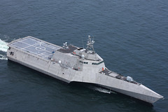 In this file photo, the future littoral combat ship USS Charleston (LCS 18) steams through the Guf of Mexico during acceptance trails in July 2018. (U.S. Navy photo courtesy of Austal USA)