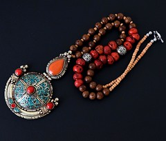 Big Nepal Tibetan Pendant Necklace Coral Wood Beads Nepalese Ethnic Jewelry Boho