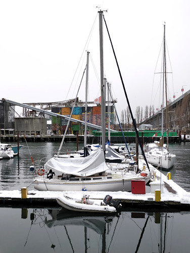 Snowy marina and Granville Island