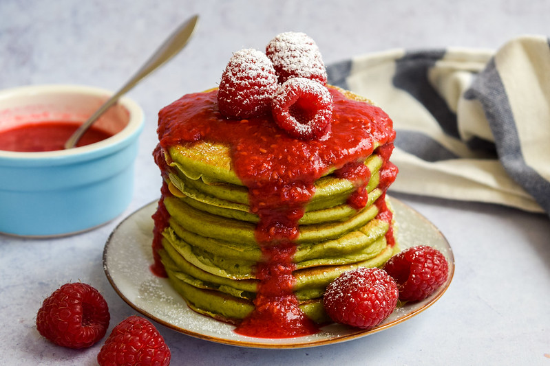 Matcha Buttermilk Pancakes with Raspberry Sauce for Pancake Day