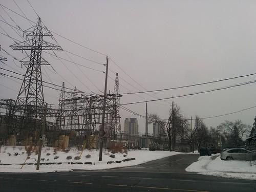Pylons near, towers far, Davenport and Caledonia #toronto #carletonvillage #davenportroad #caledoniaroad #pylon #condos #towers #white #winter #snow