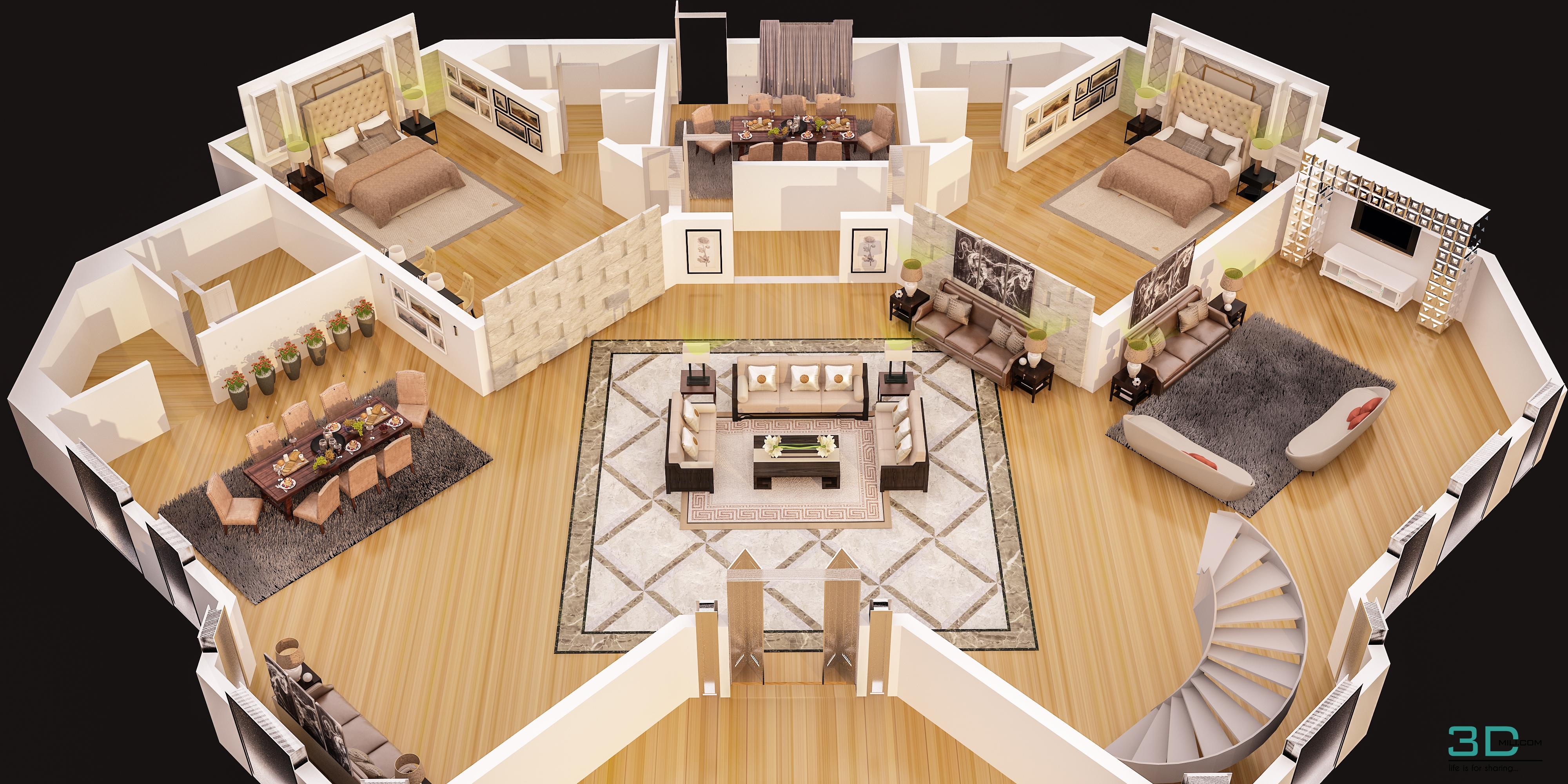 3d Floor Plan Of Luxury Villa Ground Floor 3dmili 2021 Download 3d Model Free 3d Models 3d Model Download 3dmili 2021 Download 3d Model Free 3d Models 3d Model Download