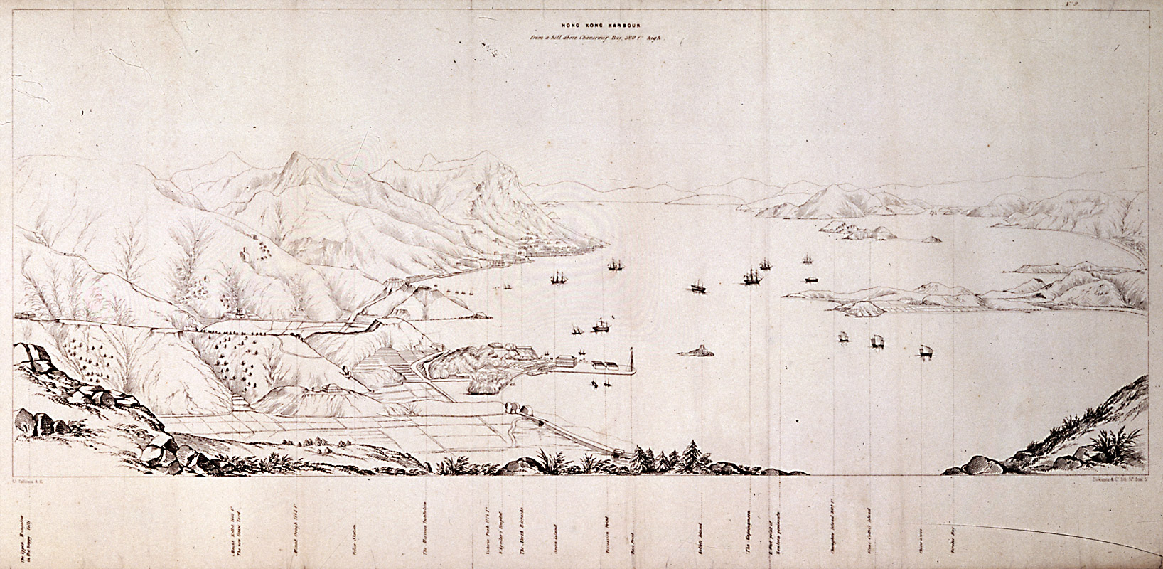 Hong Kong harbour from a hill above Causeway Bay. Drawn by Thomas Bernard Collinson, 1845.