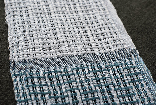 Weaving sampler for Swedish lace turned lace in contrast and white on white cotton 8/2 unmercerized weft by irieknit
