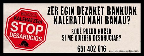 Cartel STOP Desahucios Bidasoa