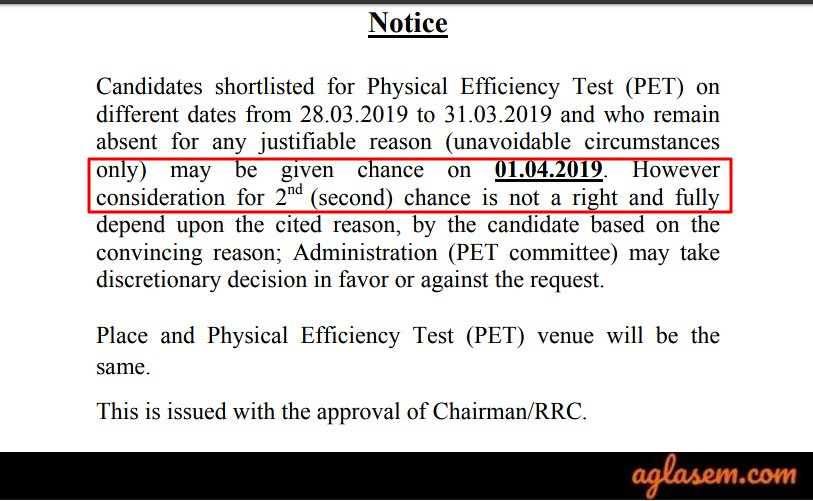 RRC SECR PET Exam Dates changed