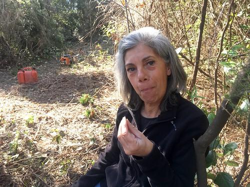 Marie-Jeanne sur le sentier RG de la Sainte-Lucie