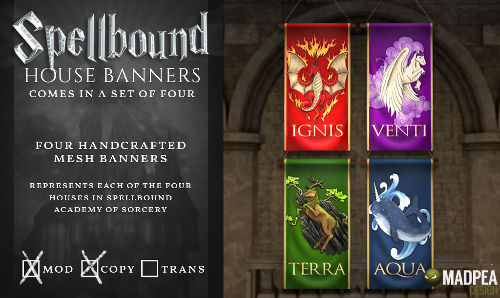 Spellbound House Banners – MadPea @ the World of Magic Event!