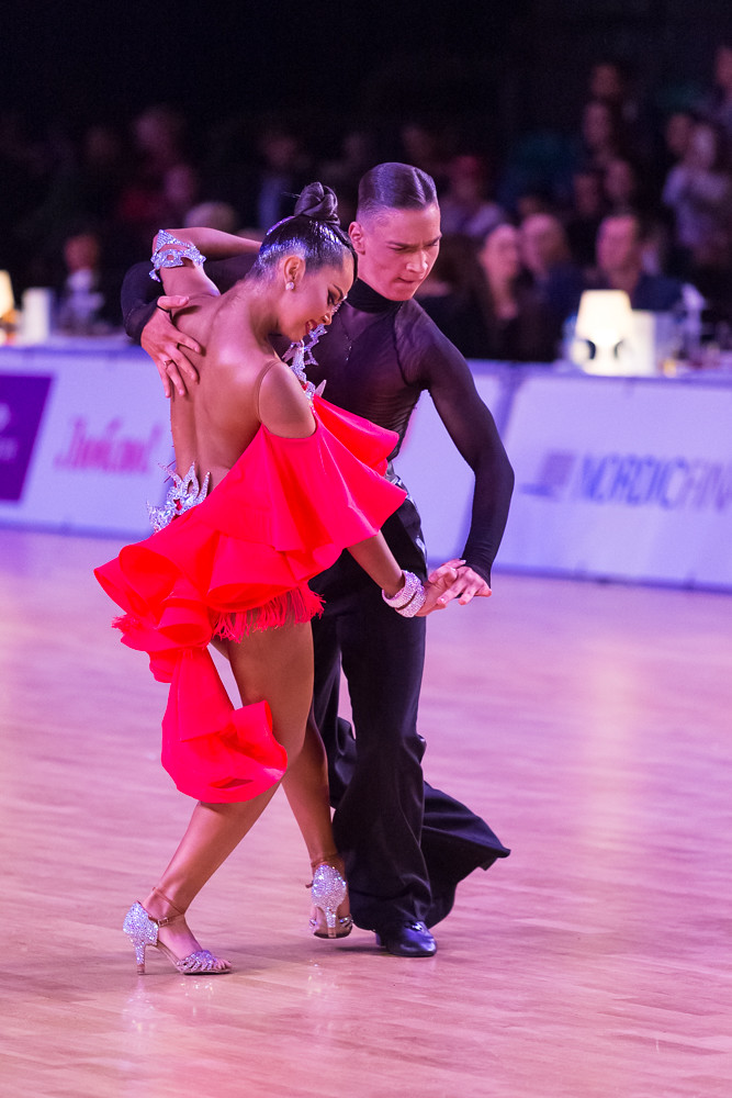 Riga, Latvia-December 15, 2018: Professional Adult Dance Couple Performs Youth Latin-American Program on the WDSF Baltic Grand Prix-2108 Championship in December 15, 2018 in Riga