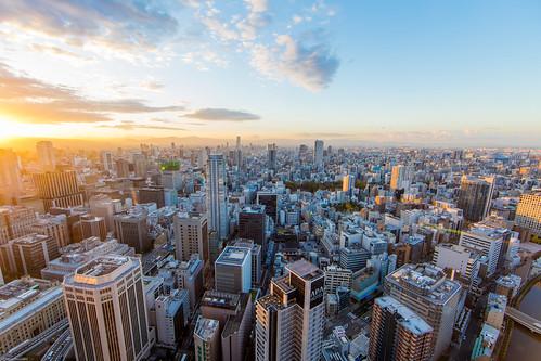 osaka sun sunrise buildings skyline japan asia 2018