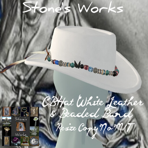 CBHat Wht Leather & Beaded Band Stone's Works