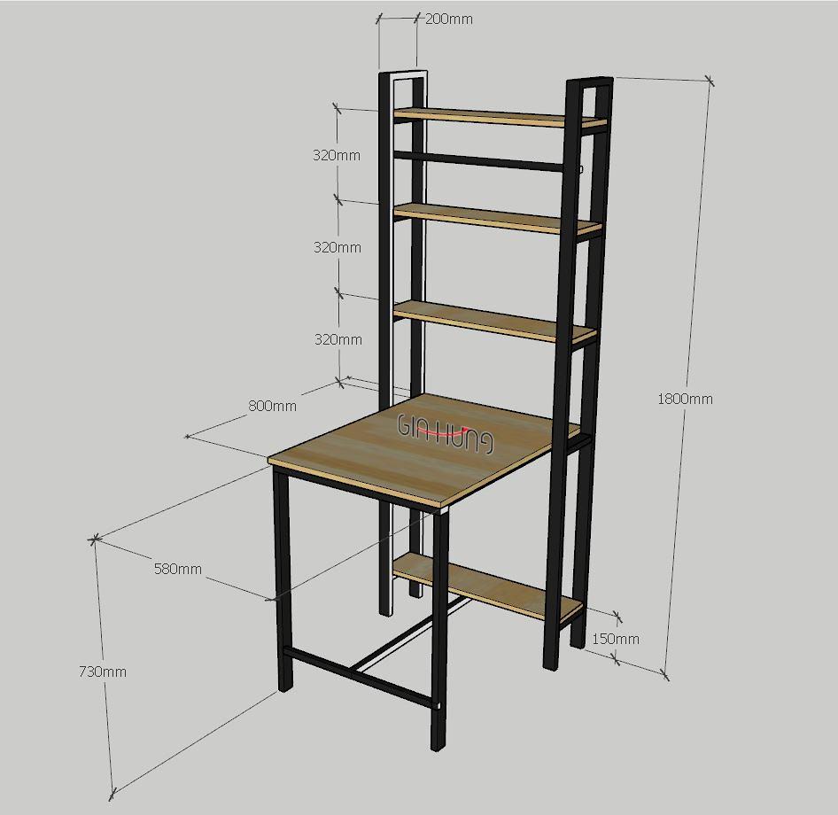 Thông số kích thước Mẫu kệ trang trí liền bàn mini GHZ-359 khung chân sắt mặt gỗ cao su