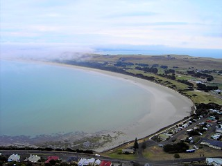 Stanley in Northern Tasmania with summer fog on the two bays.