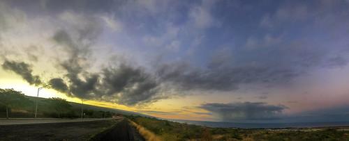 hawaii ocean coast sunrise rain hualalai maunaloa