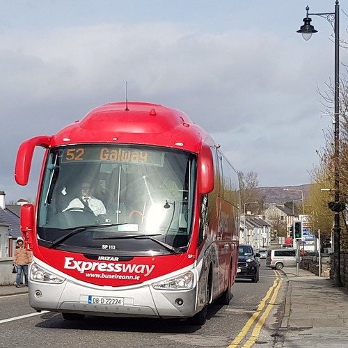 Bus Éireann (Ballina but formerly Capwell, Cork) Scania K114 Irizar PB SP113 (08-D-22224) on Route 52 at Chapel Road, Foxford, Co. Mayo on Friday afternoon, 22nd March, 2019