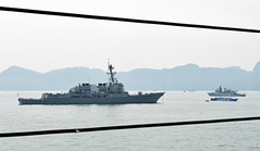 USS Preble (DDG 88), as seen from USS Blue Ridge (LCC 19), sits at anchor off Langkawi, Malaysia, March 25. (U.S. Navy/MC1 Leonard Adams)