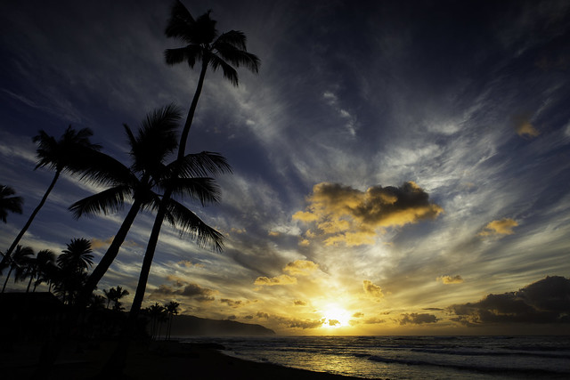 Sunset On The North Shore of Oahu, Hawaii