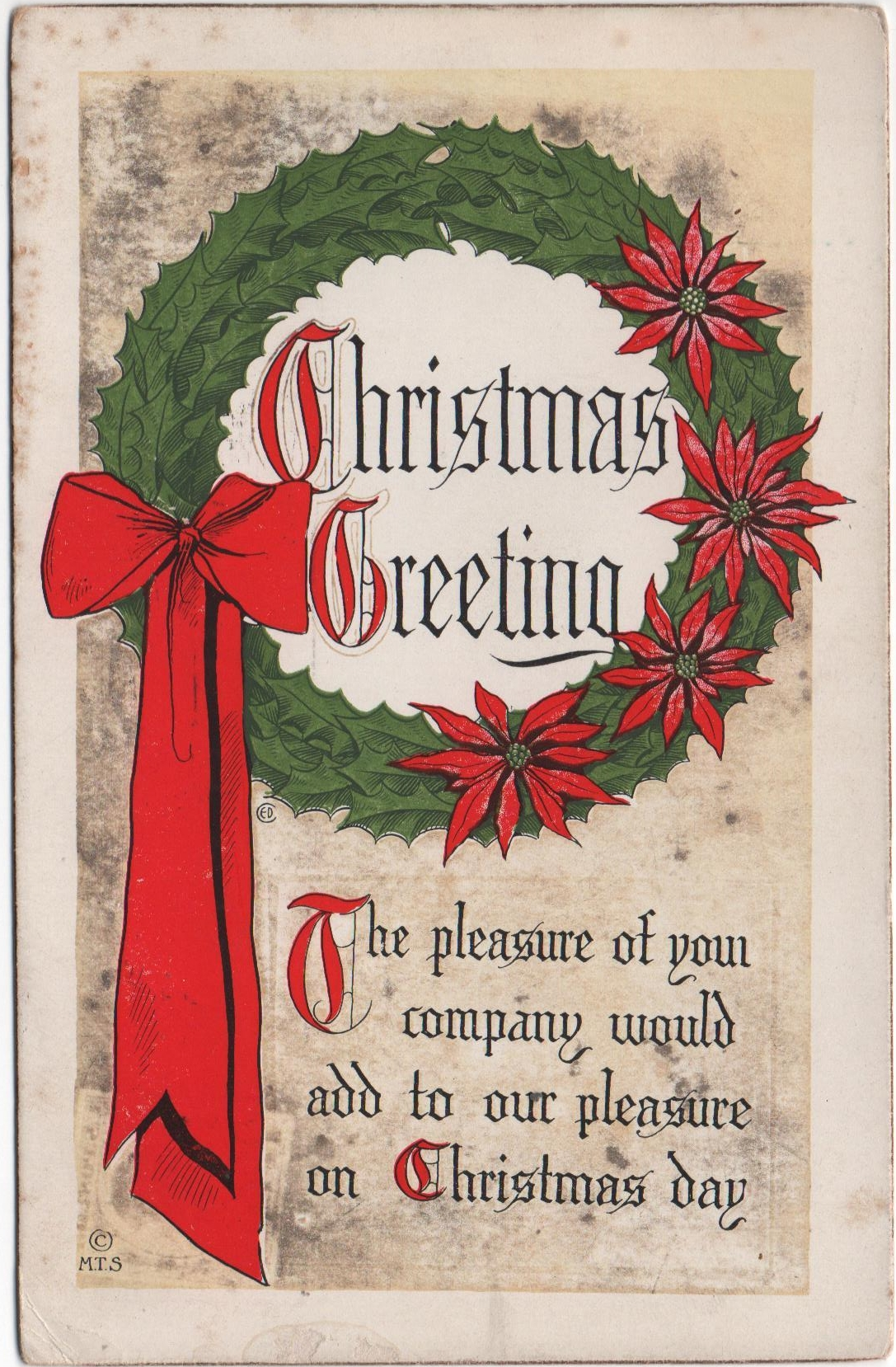Christmas card mailed in 1913